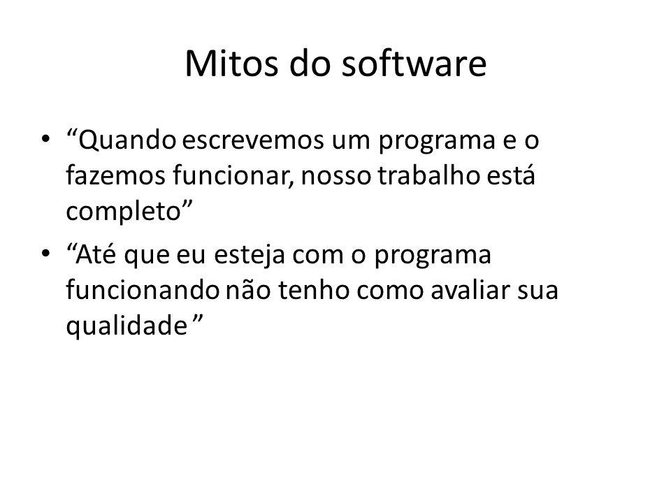 Mitos do software Quando escrevemos um programa e o fazemos funcionar, nosso trabalho está completo Até que eu esteja com o programa funcionando não tenho como avaliar sua qualidade