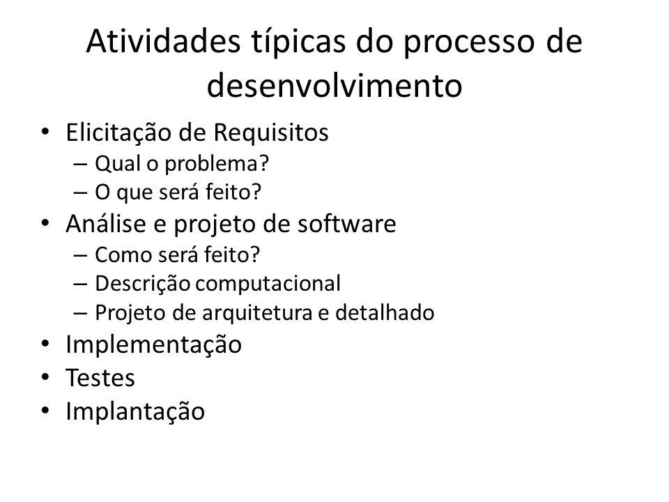 Atividades típicas do processo de desenvolvimento Elicitação de Requisitos – Qual o problema? – O que será feito? Análise e projeto de software – Como