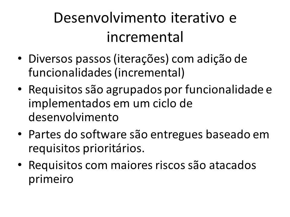 Desenvolvimento iterativo e incremental Diversos passos (iterações) com adição de funcionalidades (incremental) Requisitos são agrupados por funcional