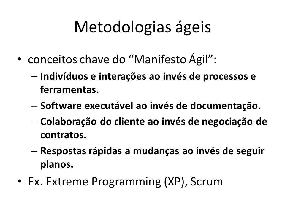 Metodologias ágeis conceitos chave do Manifesto Ágil: – Indivíduos e interações ao invés de processos e ferramentas. – Software executável ao invés de