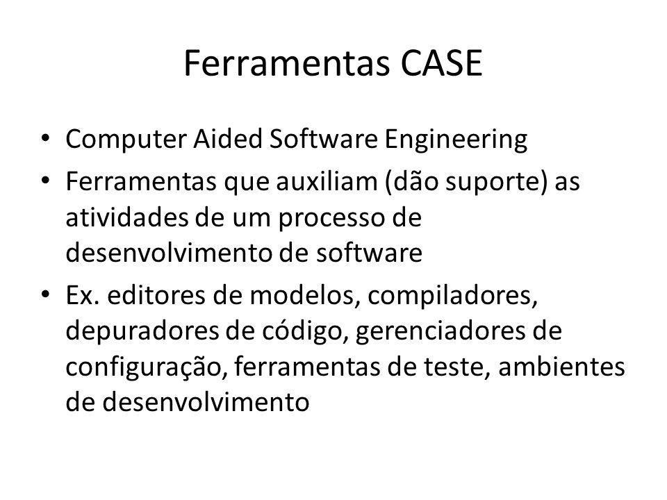Ferramentas CASE Computer Aided Software Engineering Ferramentas que auxiliam (dão suporte) as atividades de um processo de desenvolvimento de software Ex.