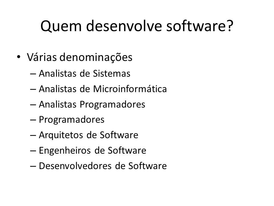 Quem desenvolve software? Várias denominações – Analistas de Sistemas – Analistas de Microinformática – Analistas Programadores – Programadores – Arqu