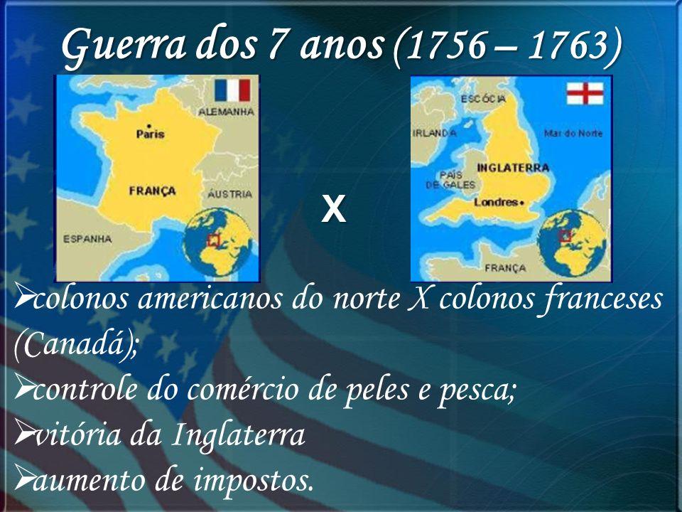 Guerra dos 7 anos (1756 – 1763) X colonos americanos do norte X colonos franceses (Canadá); controle do comércio de peles e pesca; vitória da Inglater