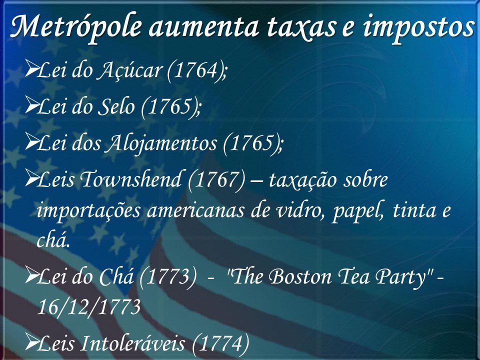 Metrópole aumenta taxas e impostos Lei do Açúcar (1764); Lei do Selo (1765); Lei dos Alojamentos (1765); Leis Townshend (1767) – taxação sobre importa