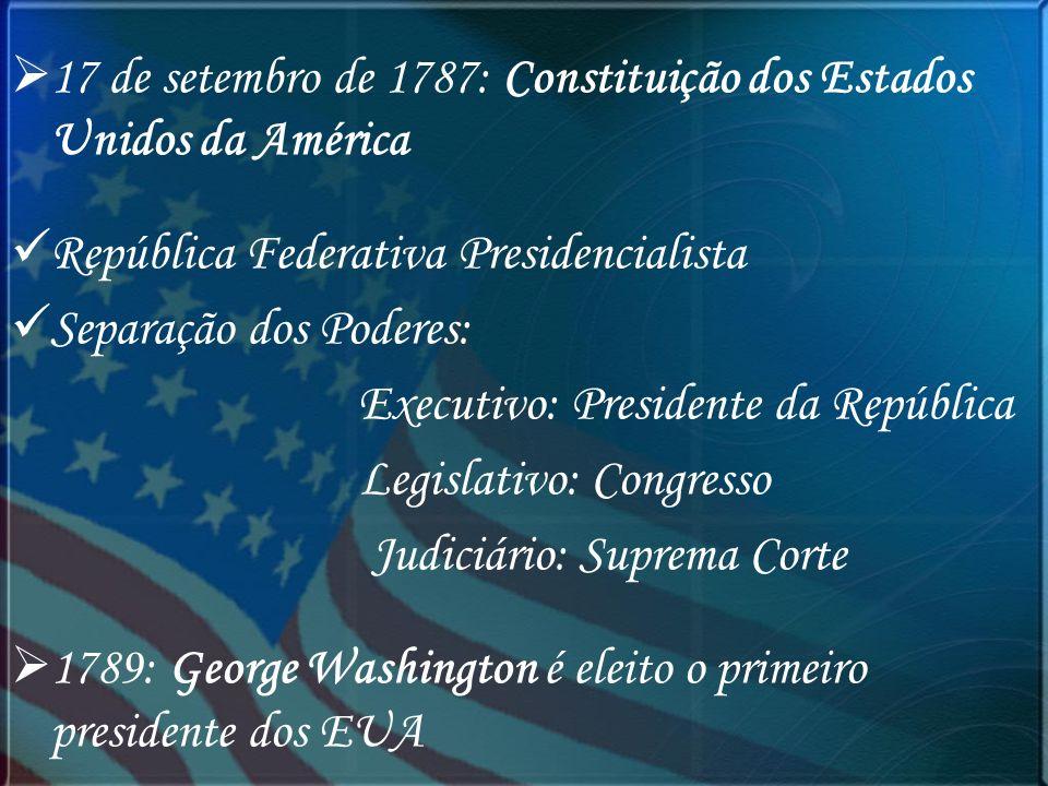 17 de setembro de 1787: Constituição dos Estados Unidos da América República Federativa Presidencialista Separação dos Poderes: Executivo: Presidente
