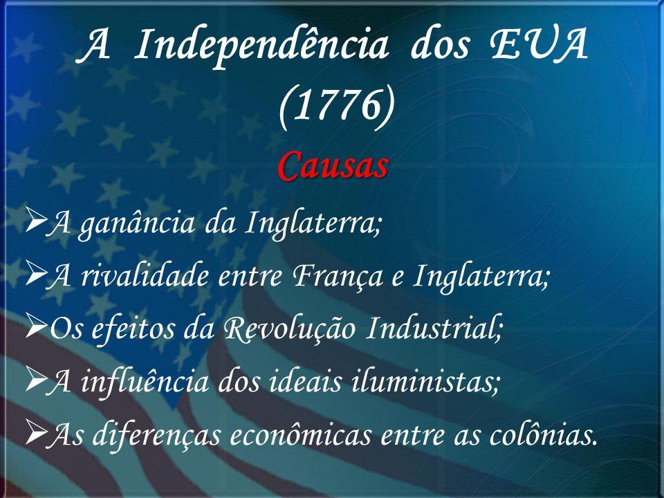 A Independência dos EUA (1776) Causas A ganância da Inglaterra; A rivalidade entre França e Inglaterra; Os efeitos da Revolução Industrial; A influênc