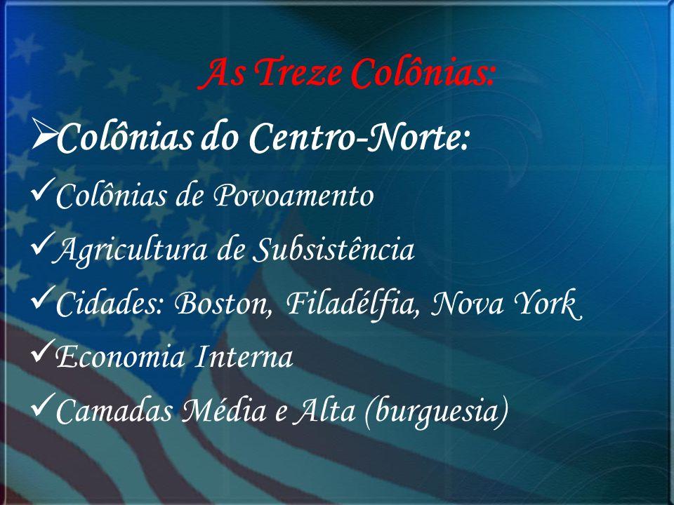 As Treze Colônias: Colônias do Centro-Norte: Colônias de Povoamento Agricultura de Subsistência Cidades: Boston, Filadélfia, Nova York Economia Intern