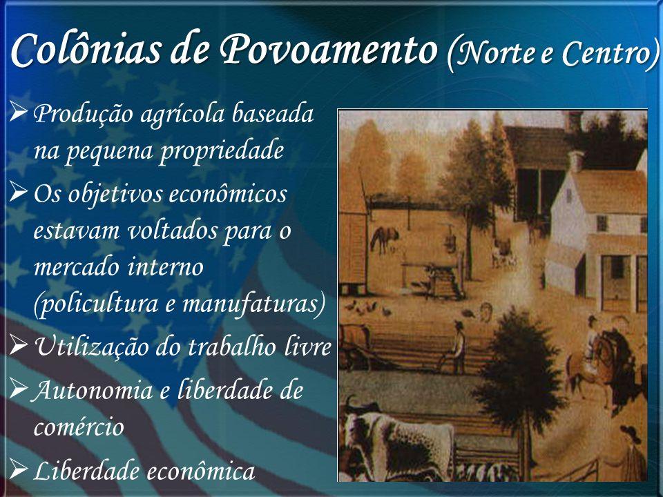 Colônias de Povoamento ( Norte e Centro) Produção agrícola baseada na pequena propriedade Os objetivos econômicos estavam voltados para o mercado inte