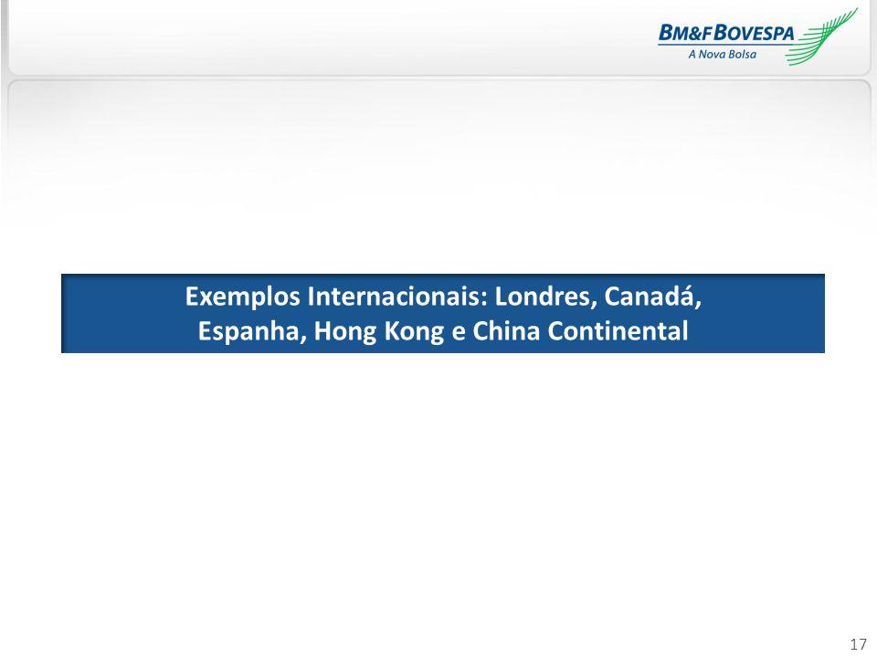 17 Exemplos Internacionais: Londres, Canadá, Espanha, Hong Kong e China Continental
