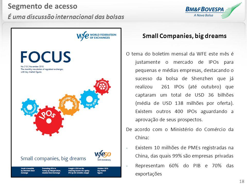 18 Segmento de acesso É uma discussão internacional das bolsas Small Companies, big dreams O tema do boletim mensal da WFE este mês é justamente o mer