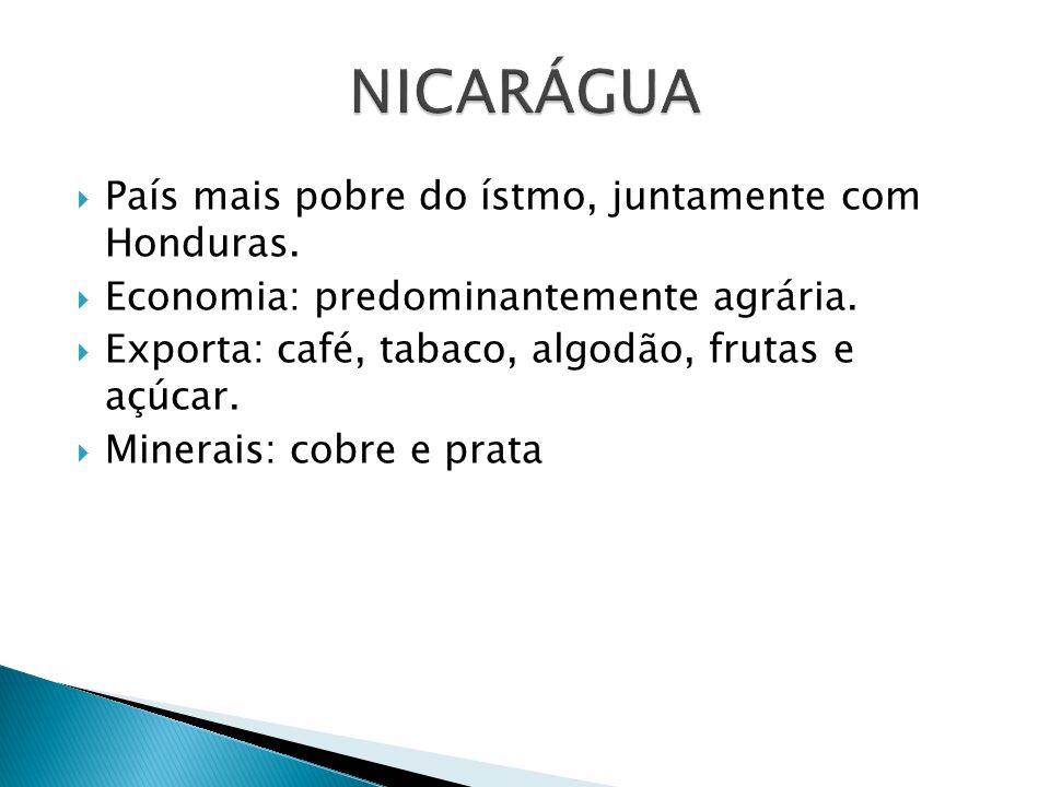 País mais pobre do ístmo, juntamente com Honduras. Economia: predominantemente agrária. Exporta: café, tabaco, algodão, frutas e açúcar. Minerais: cob