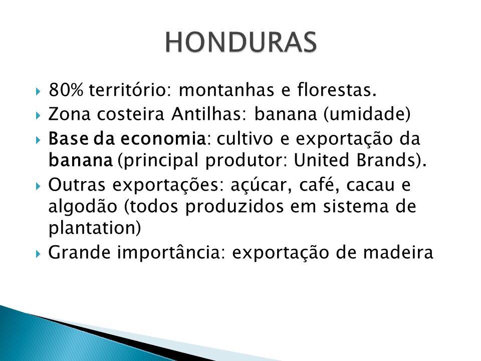 80% território: montanhas e florestas. Zona costeira Antilhas: banana (umidade) Base da economia: cultivo e exportação da banana (principal produtor:
