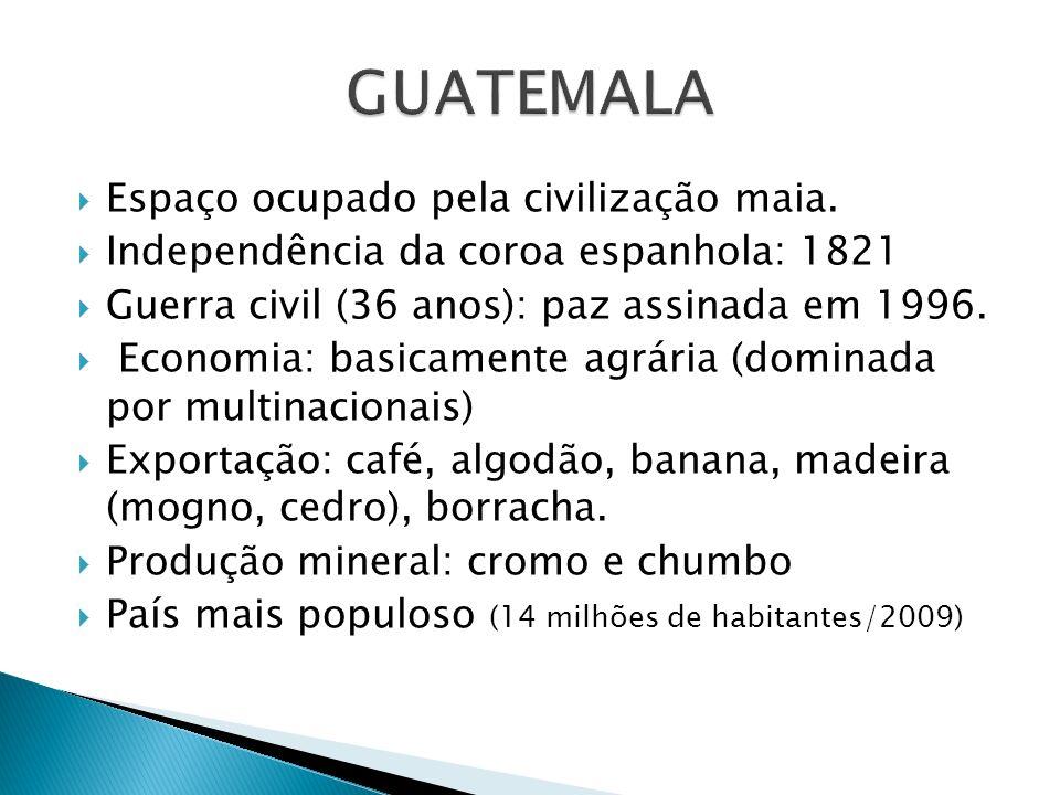 Espaço ocupado pela civilização maia. Independência da coroa espanhola: 1821 Guerra civil (36 anos): paz assinada em 1996. Economia: basicamente agrár