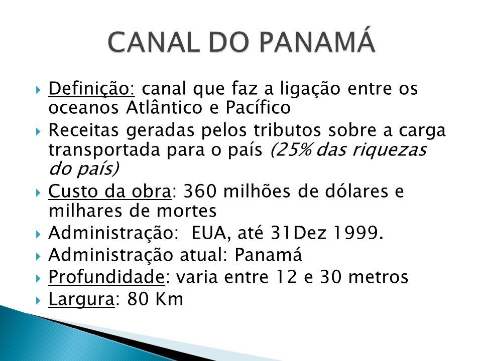 Definição: canal que faz a ligação entre os oceanos Atlântico e Pacífico Receitas geradas pelos tributos sobre a carga transportada para o país (25% d