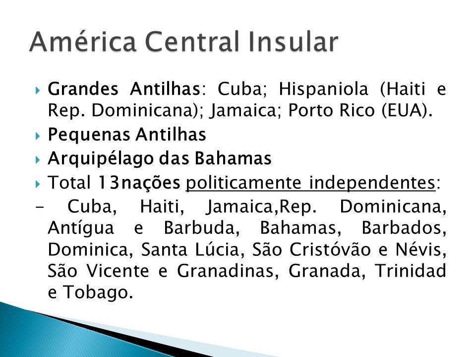 Grandes Antilhas: Cuba; Hispaniola (Haiti e Rep. Dominicana); Jamaica; Porto Rico (EUA). Pequenas Antilhas Arquipélago das Bahamas Total 13nações poli