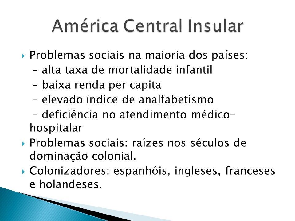 Problemas sociais na maioria dos países: - alta taxa de mortalidade infantil - baixa renda per capita - elevado índice de analfabetismo - deficiência