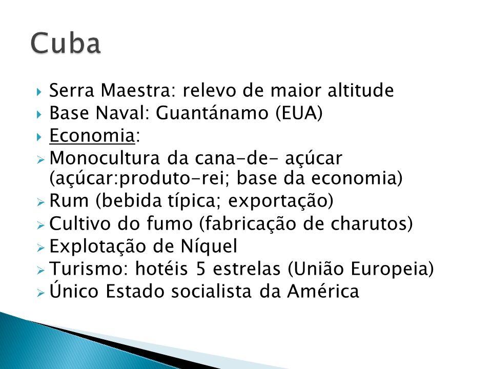 Serra Maestra: relevo de maior altitude Base Naval: Guantánamo (EUA) Economia: Monocultura da cana-de- açúcar (açúcar:produto-rei; base da economia) R