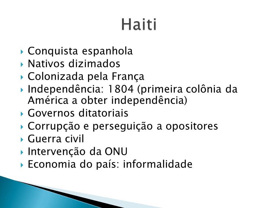 Conquista espanhola Nativos dizimados Colonizada pela França Independência: 1804 (primeira colônia da América a obter independência) Governos ditatori