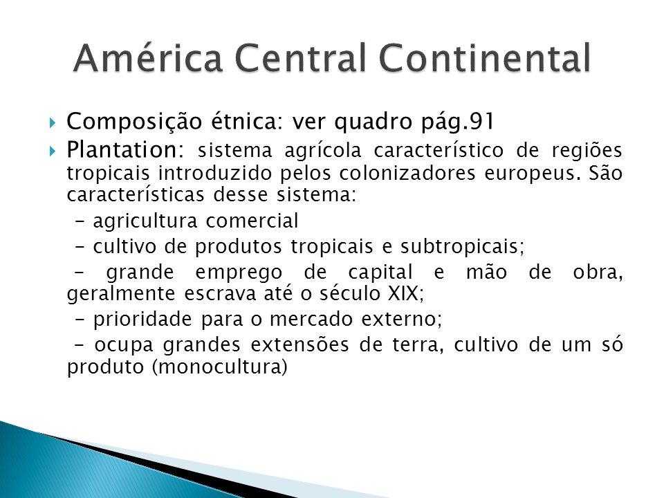 Composição étnica: ver quadro pág.91 Plantation: sistema agrícola característico de regiões tropicais introduzido pelos colonizadores europeus. São ca