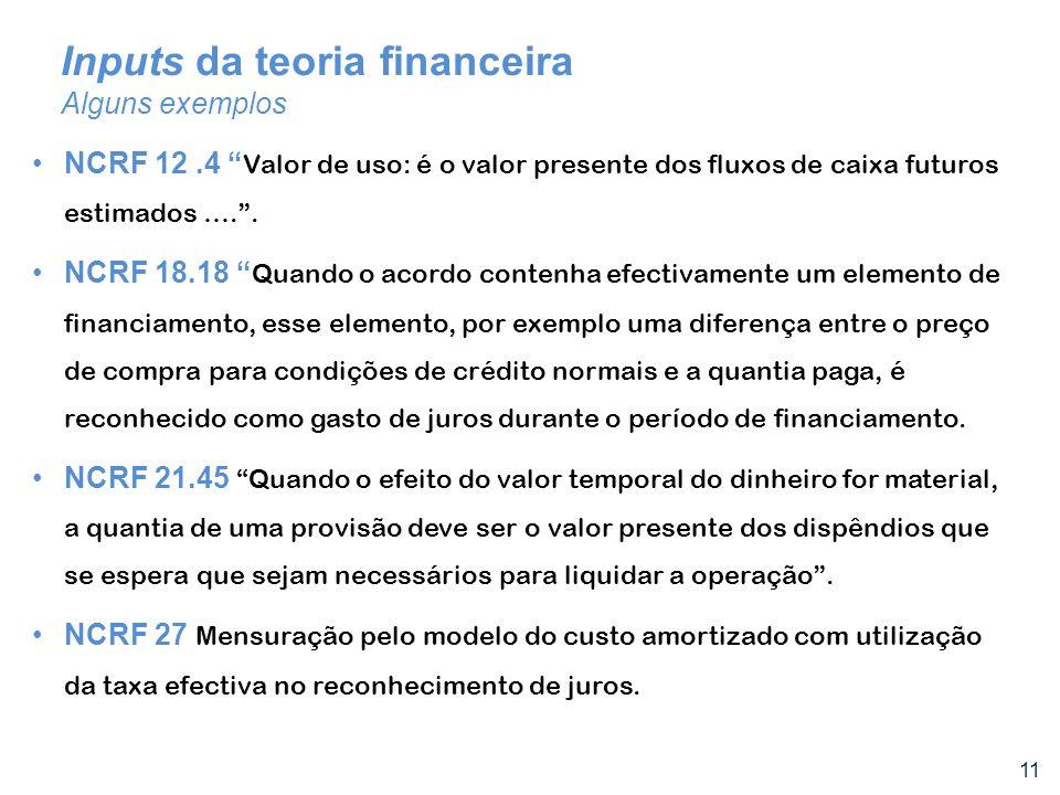 11 Inputs da teoria financeira Alguns exemplos NCRF 12.4 Valor de uso: é o valor presente dos fluxos de caixa futuros estimados ….. NCRF 18.18 Quando
