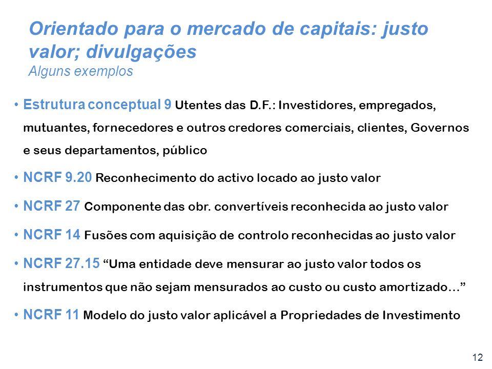 12 Orientado para o mercado de capitais: justo valor; divulgações Alguns exemplos Estrutura conceptual 9 Utentes das D.F.: Investidores, empregados, m