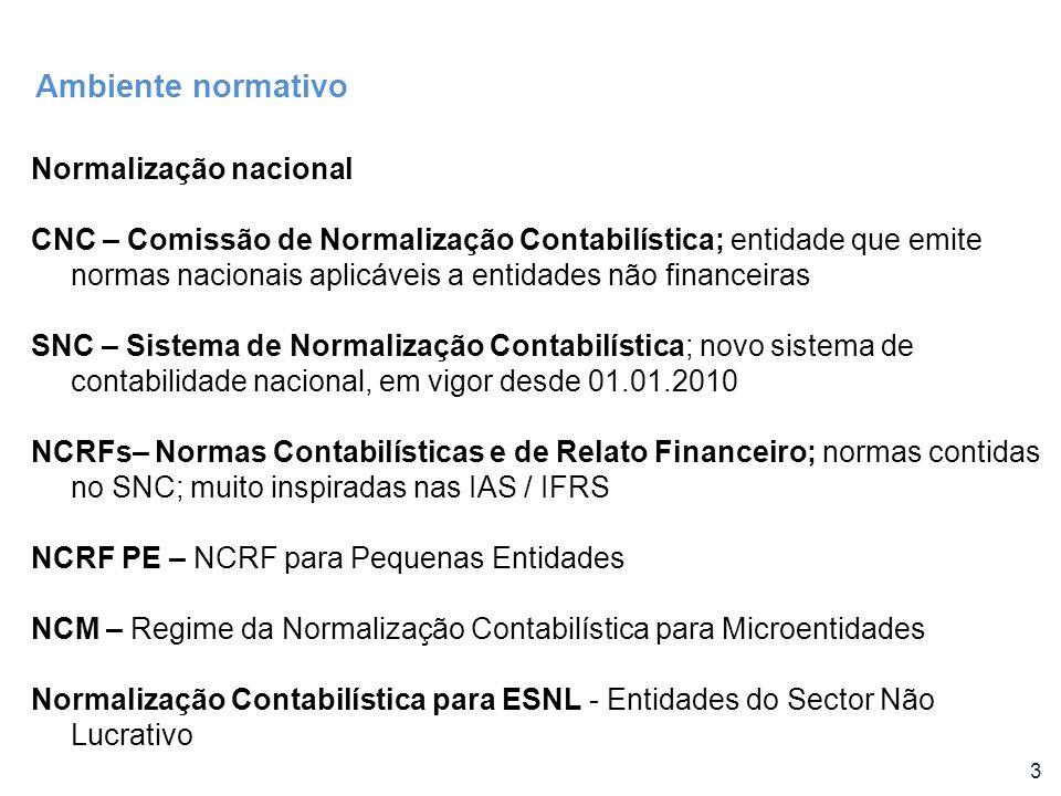 3 Normalização nacional CNC – Comissão de Normalização Contabilística; entidade que emite normas nacionais aplicáveis a entidades não financeiras SNC