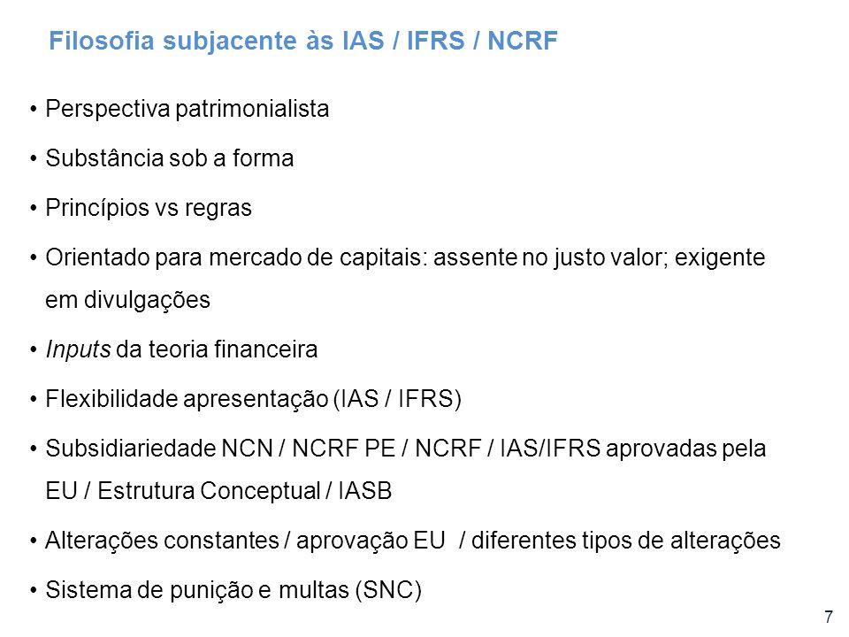 7 Perspectiva patrimonialista Substância sob a forma Princípios vs regras Orientado para mercado de capitais: assente no justo valor; exigente em divu