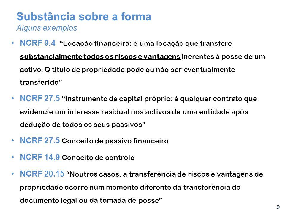 10 Princípiosvsregras Alguns exemplos NCRF 8.7/8/9 Conceito de altamente provável NCRF 9.12 Exemplos de situações que podem normalmente conduzir a que uma locação seja classificada como uma locação financeira são NCRF 10.6 Exemplos de activos que se qualificam são os inventários que exijam um período substancial de tempo para os por em condição vendável NCRF 21 Provisões vs passivos contingentes: possível vs provável; mensurável com suficiente fiabilidade NCRF 7.43 Cada parte de um item do activo fixo tangível com um custo que seja significativo em relação ao custo total deve se depreciada separadamente NCRF 6 Conceito de mercado activo
