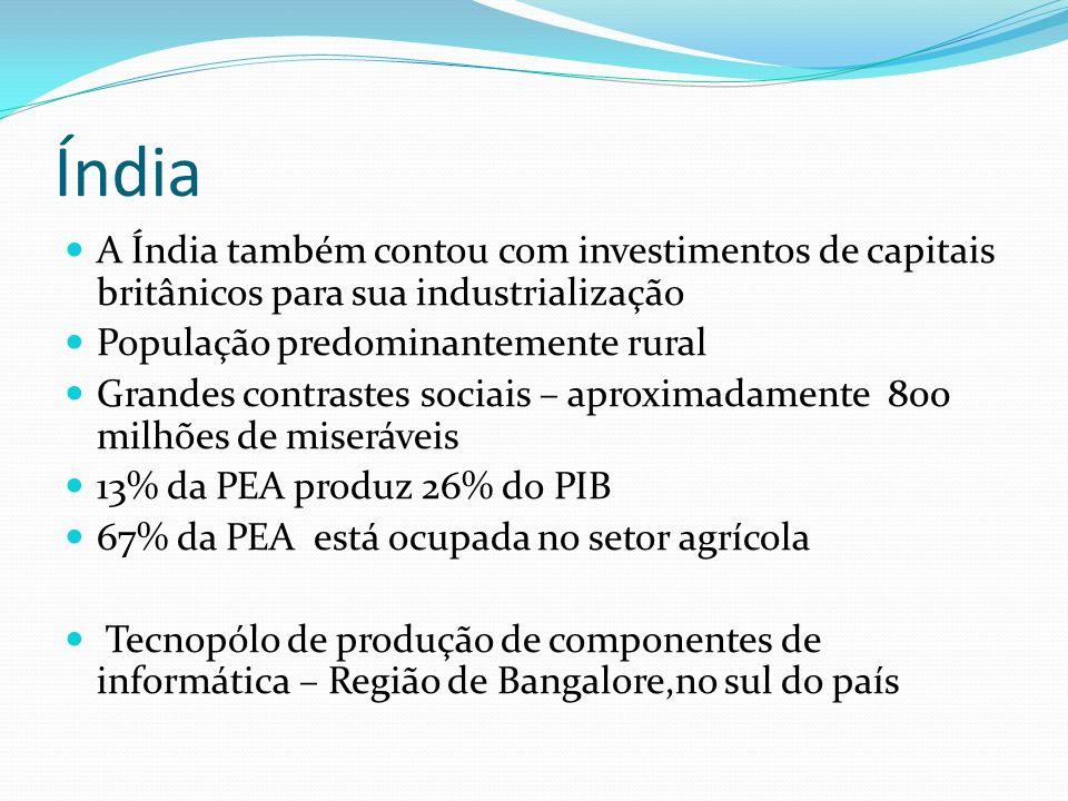Índia A Índia também contou com investimentos de capitais britânicos para sua industrialização População predominantemente rural Grandes contrastes so