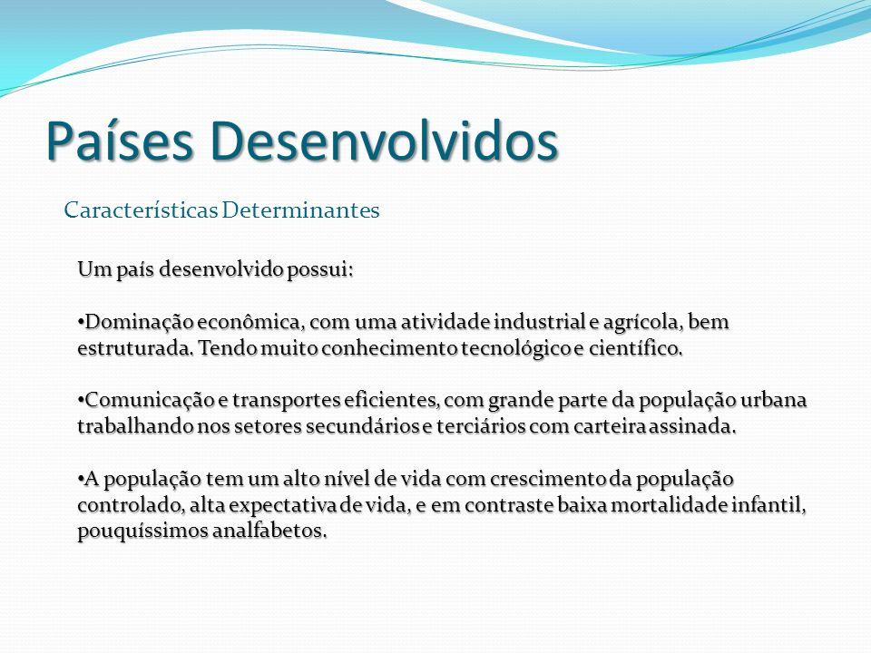 Países Desenvolvidos Características Determinantes Um país desenvolvido possui: Dominação econômica, com uma atividade industrial e agrícola, bem estr