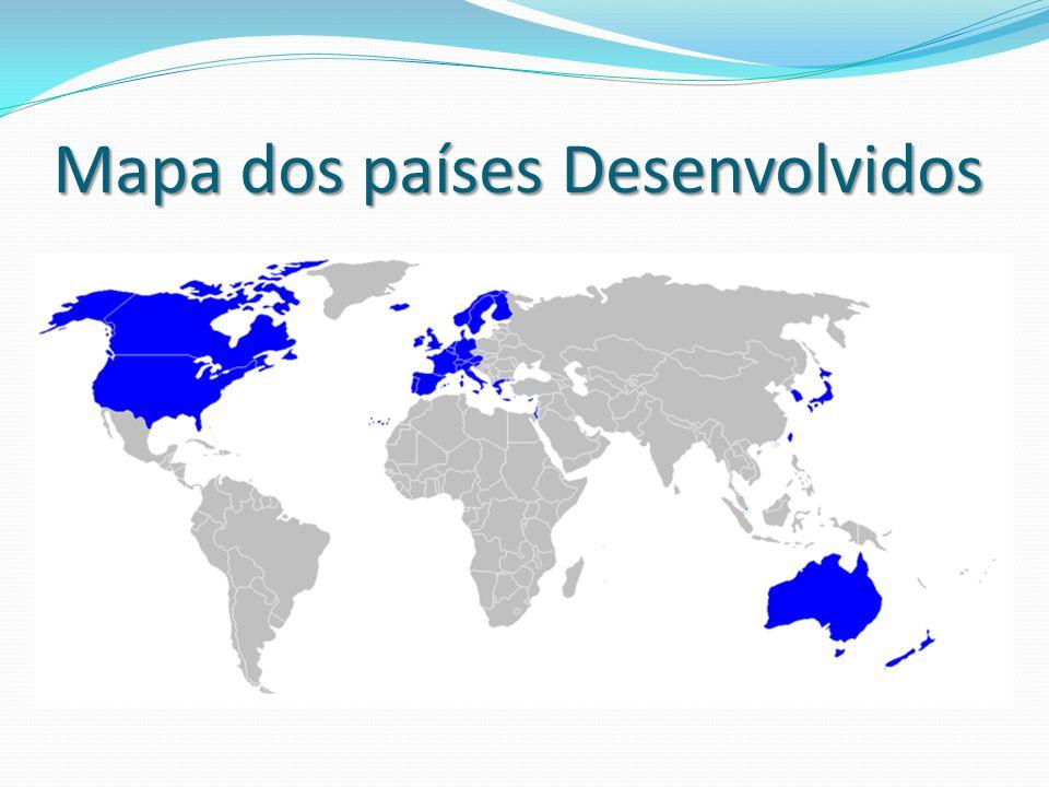 Mapa dos países Desenvolvidos