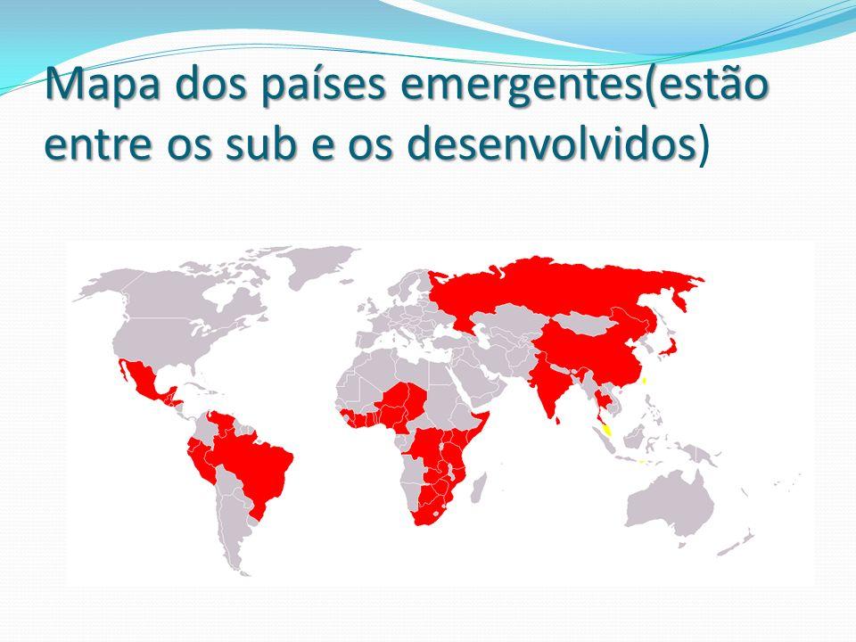 Mapa dos países emergentes(estão entre os sub e os desenvolvidos Mapa dos países emergentes(estão entre os sub e os desenvolvidos)