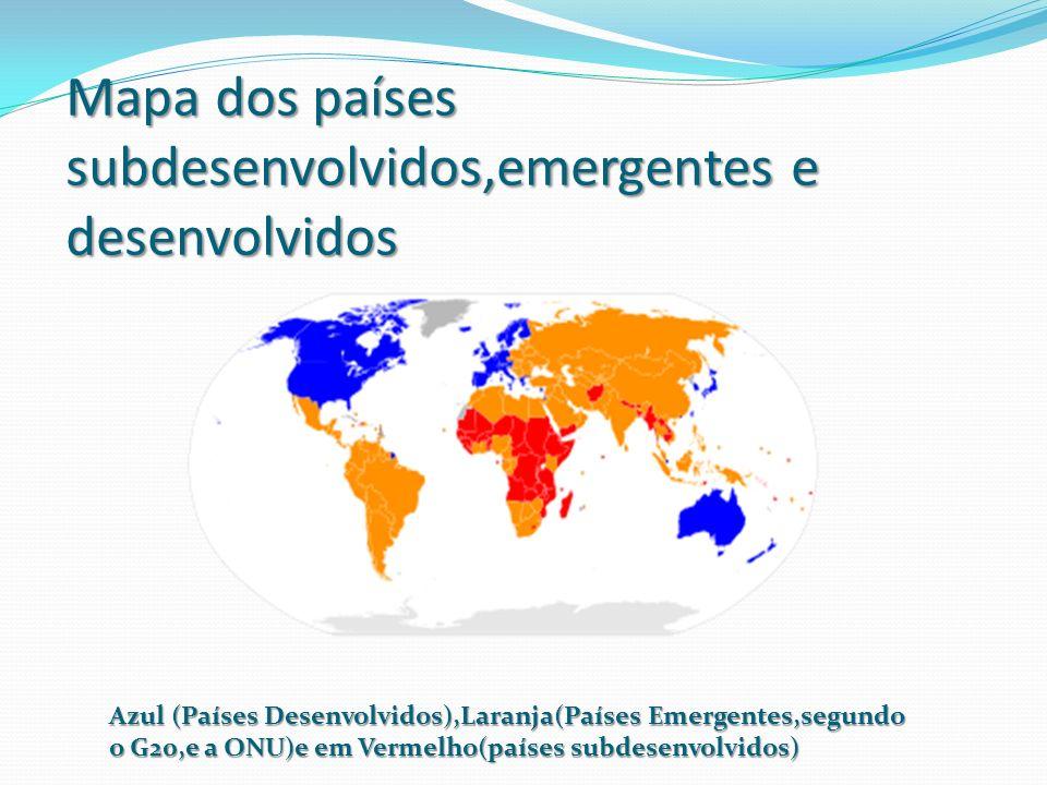 Mapa dos países subdesenvolvidos,emergentes e desenvolvidos Azul (Países Desenvolvidos),Laranja(Países Emergentes,segundo o G20,e a ONU)e em Vermelho(