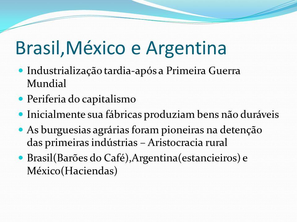 Brasil,México e Argentina Industrialização tardia-após a Primeira Guerra Mundial Periferia do capitalismo Inicialmente sua fábricas produziam bens não