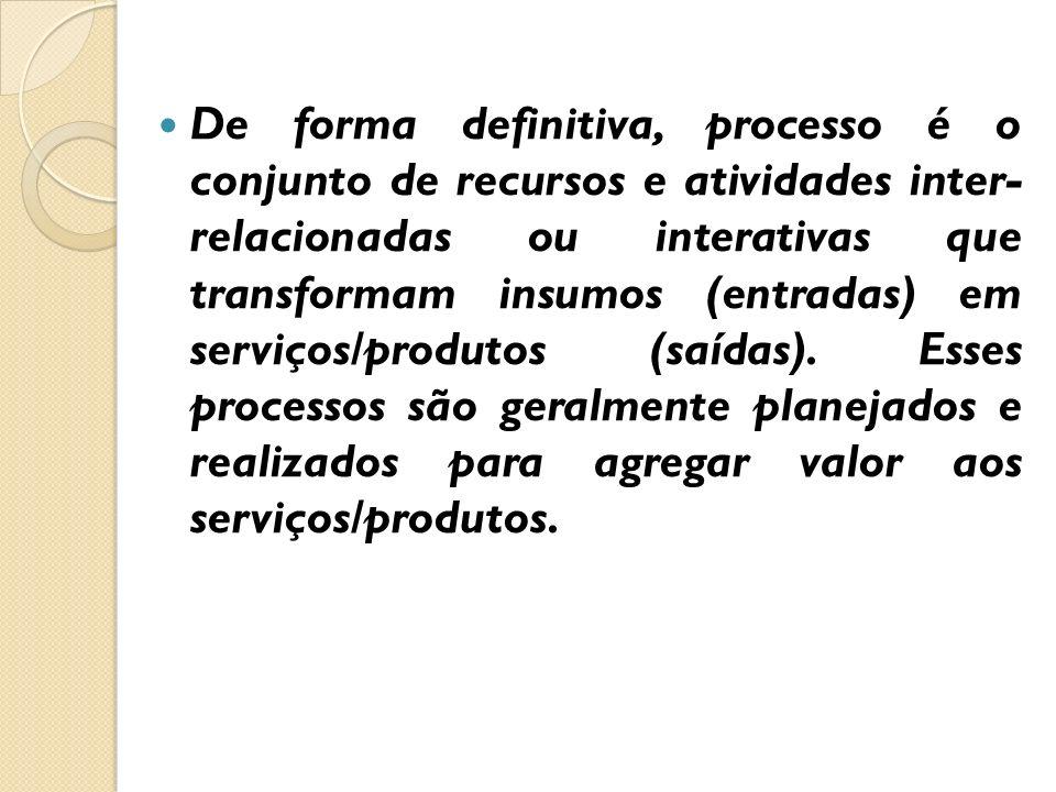 De forma definitiva, processo é o conjunto de recursos e atividades inter- relacionadas ou interativas que transformam insumos (entradas) em serviços/