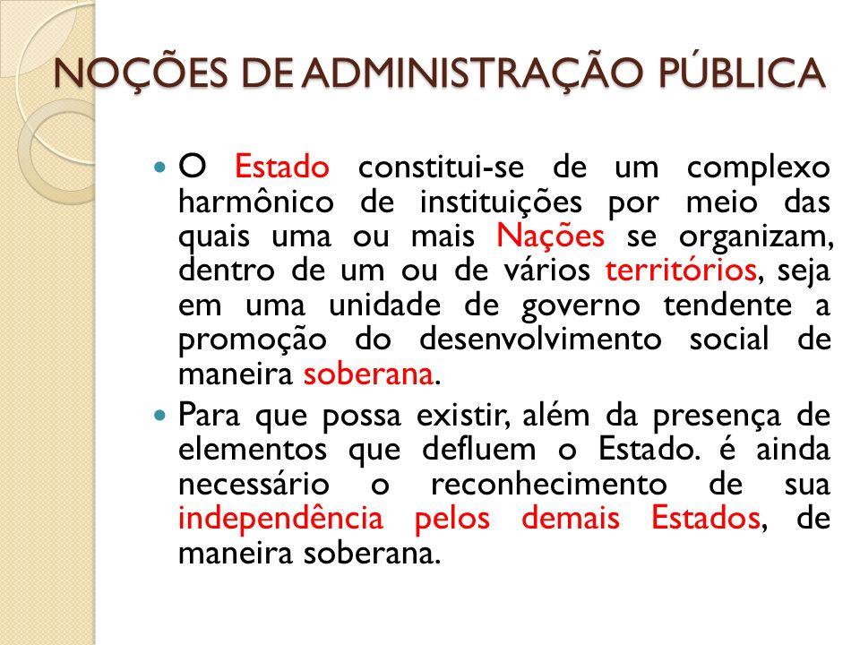 O Estado constitui-se de um complexo harmônico de instituições por meio das quais uma ou mais Nações se organizam, dentro de um ou de vários territóri