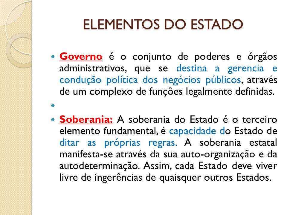 ELEMENTOS DO ESTADO Governo é o conjunto de poderes e órgãos administrativos, que se destina a gerencia e condução política dos negócios públicos, atr