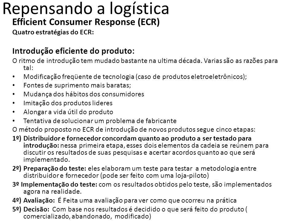 Efficient Consumer Response (ECR) Quatro estratégias do ECR: Introdução eficiente do produto: O ritmo de introdução tem mudado bastante na ultima déca