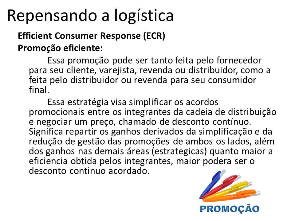 Efficient Consumer Response (ECR) Promoção eficiente: Essa promoção pode ser tanto feita pelo fornecedor para seu cliente, varejista, revenda ou distribuidor, como a feita pelo distribuidor ou revenda para seu consumidor final.