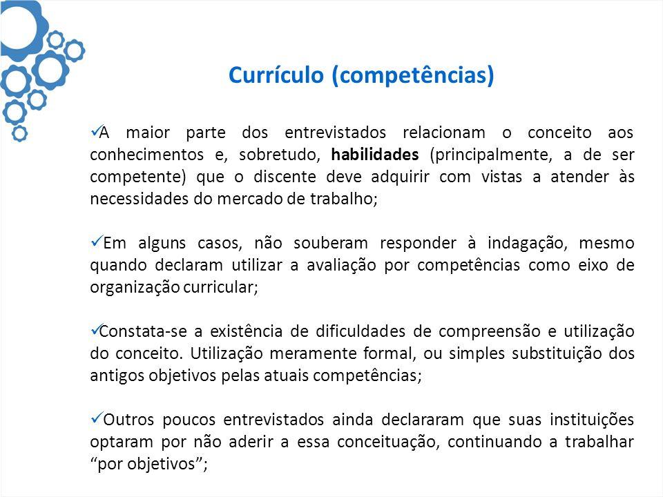 Currículo (competências) A maior parte dos entrevistados relacionam o conceito aos conhecimentos e, sobretudo, habilidades (principalmente, a de ser c