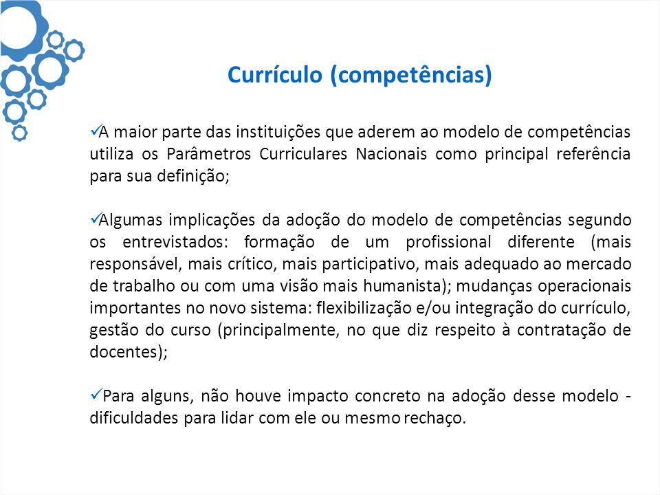 Currículo (competências) A maior parte das instituições que aderem ao modelo de competências utiliza os Parâmetros Curriculares Nacionais como princip