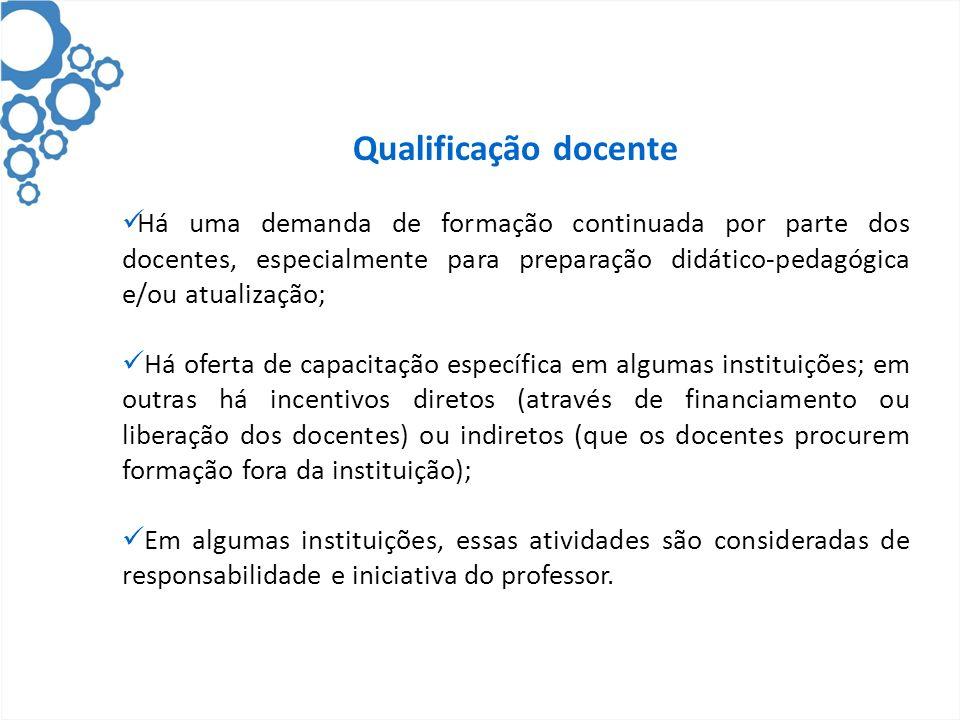 Qualificação docente Há uma demanda de formação continuada por parte dos docentes, especialmente para preparação didático-pedagógica e/ou atualização;