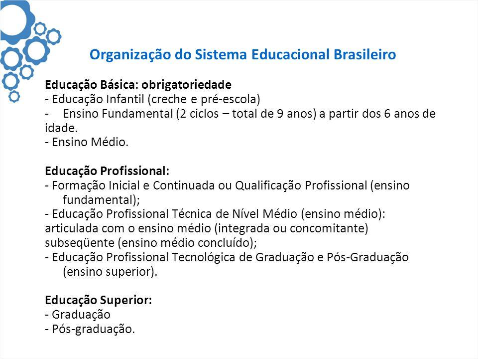 Organização do Sistema Educacional Brasileiro Educação Básica: obrigatoriedade - Educação Infantil (creche e pré-escola) -Ensino Fundamental (2 ciclos – total de 9 anos) a partir dos 6 anos de idade.