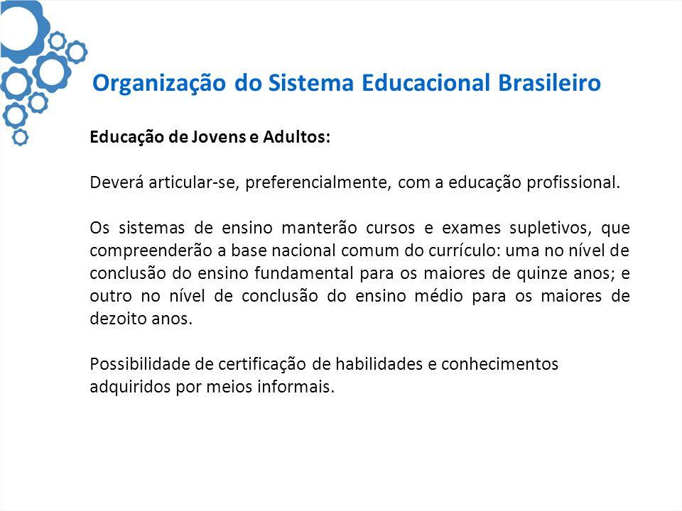 Organização do Sistema Educacional Brasileiro Educação de Jovens e Adultos: Deverá articular-se, preferencialmente, com a educação profissional. Os si