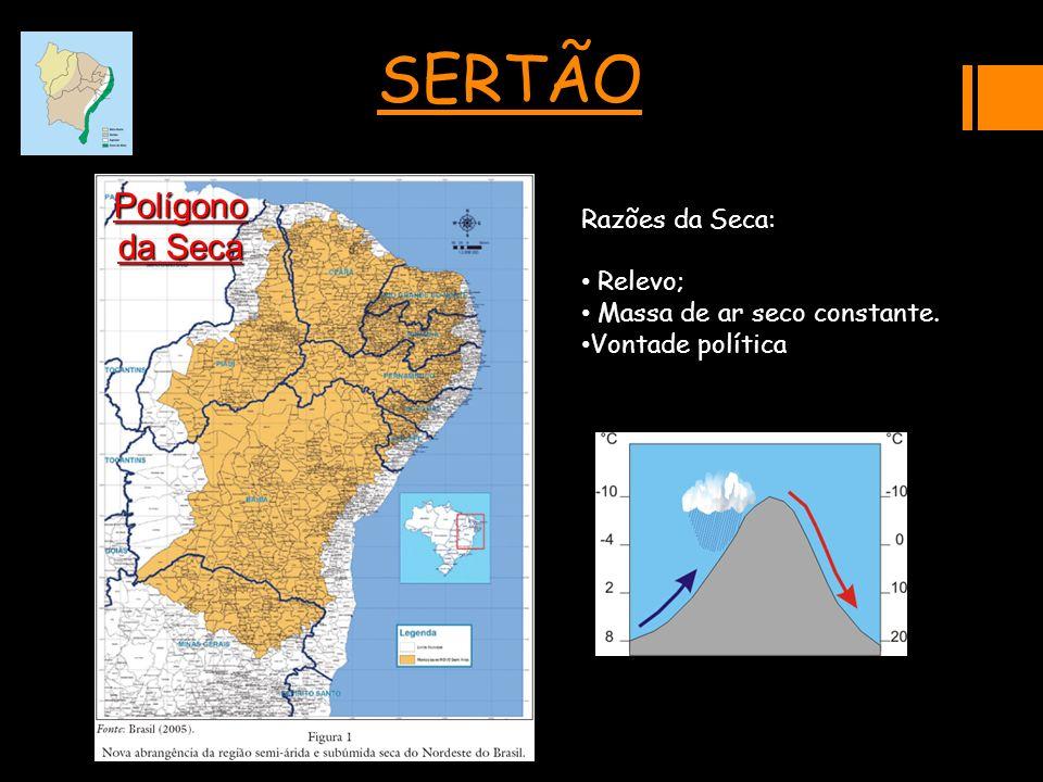 SERTÃO Polígono da Seca Razões da Seca: Relevo; Massa de ar seco constante. Vontade política