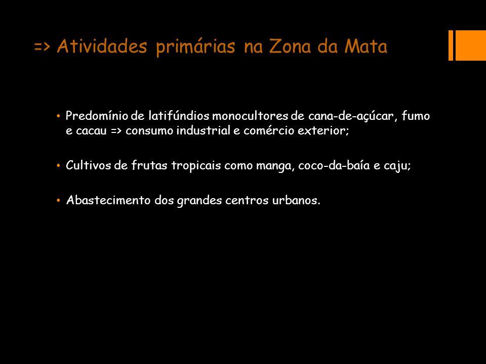 => Atividades primárias na Zona da Mata Predomínio de latifúndios monocultores de cana-de-açúcar, fumo e cacau => consumo industrial e comércio exteri