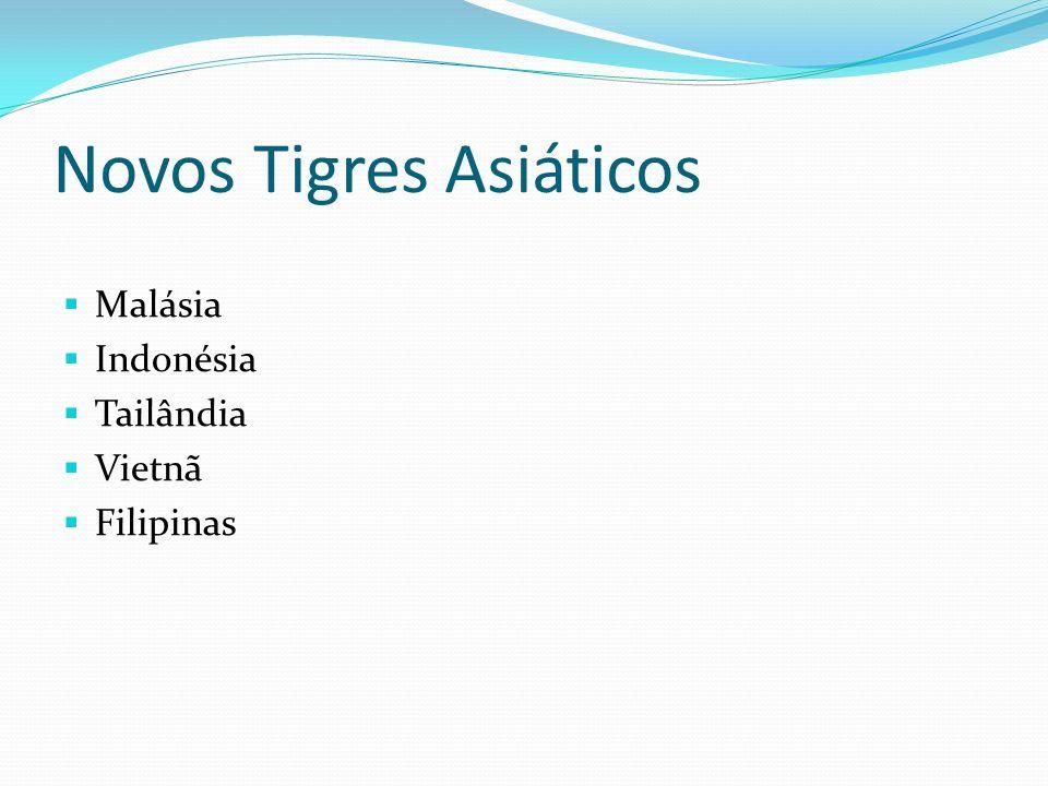 Novos Tigres Asiáticos O sucesso dos Tigres Asiáticos influenciou outros países da região.