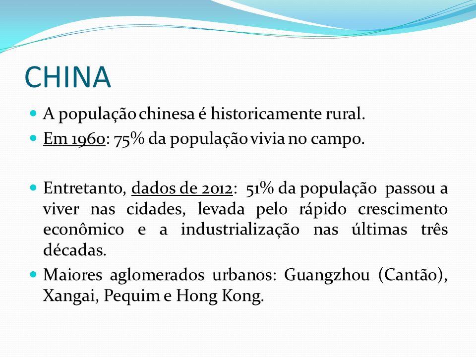 CHINA Guangzhou (Cantão): é um aglomerado urbano de recente e rápido crescimento (mais de 40 milhões de habitantes na área metropolitana, o que significa que é o maior aglomerado urbano do mundo, praticamente empatando com Tóquio, no Japão).