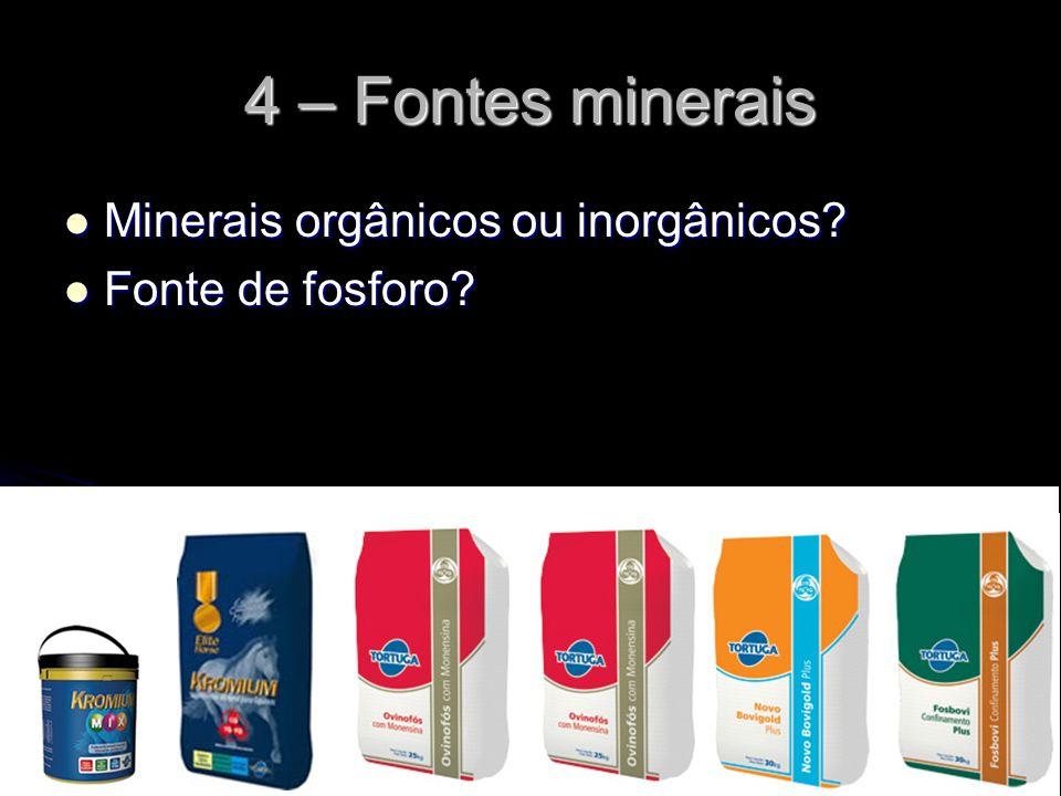 4 – Fontes minerais Minerais orgânicos ou inorgânicos? Minerais orgânicos ou inorgânicos? Fonte de fosforo? Fonte de fosforo?