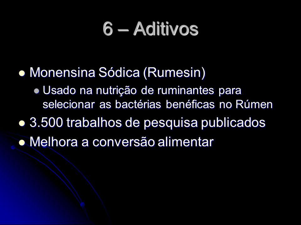 6 – Aditivos Monensina Sódica (Rumesin) Monensina Sódica (Rumesin) Usado na nutrição de ruminantes para selecionar as bactérias benéficas no Rúmen Usa